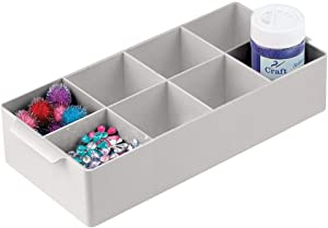 mDesign Compact Plastic Craft & Sewing Storage Organizer Caddy Tote Bin - 8 Divided Sections, Built-in Handles - Holder for Ribbons, Tape, Trim - Light Gray