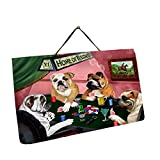 Home of Bulldogs 4 Dogs Playing Poker Photo Slate Hanging
