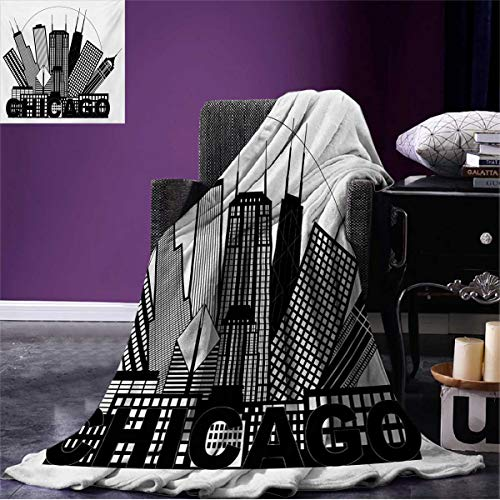 Anniutwo Chicago Skyline Summer Blanket Circle City Landscape Office Buildings North American Memories Print Beach Black and White W60 x L36 inch