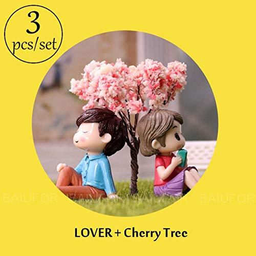 Price comparison product image Ochoos Miniature Romantic Lover Couple DIY Terrarium Figurines Mini Fairy Garden Decor Desktop & Car & Cake Accessories Crafts - (Color: Lover and Tree)