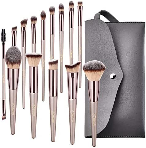 BESTOPE Makeup Brushes, Conical Handle Professional Premium Synthetic Makeup Brush Set Kit With Case Bag for Blending Foundation Powder Blush Eyeshadow
