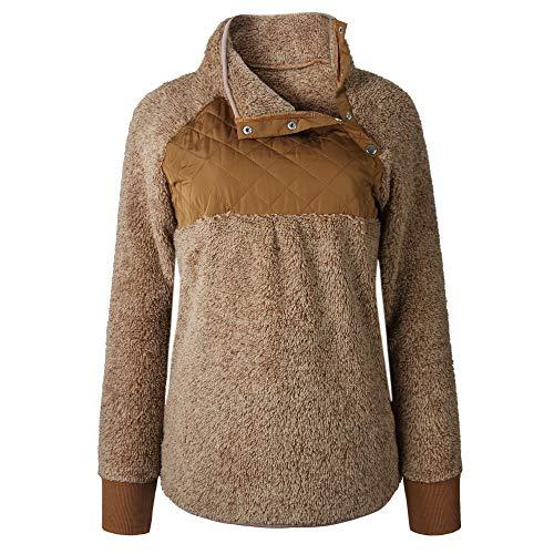 Gyozelem Womens Long Sleeve Sherpa Fleece Pullover Coat Sweatshirt Outwear Tops Sweater Small Coffe by Gyozelem (Image #2)