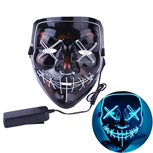 CANASOUR Frightening Wire Halloween LED Light up Mask for Festival Parties Cosplay Costume (Ice Blue) ()