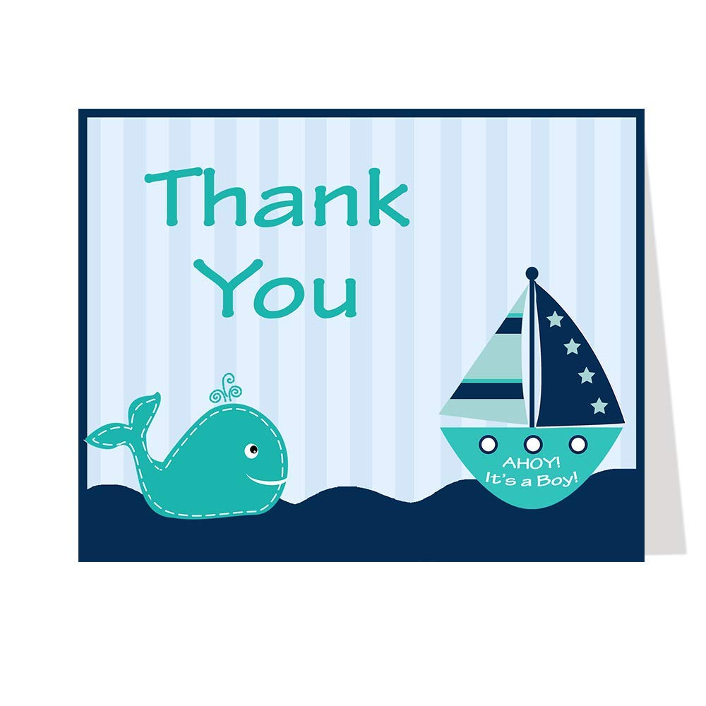 Ahoy It s A Boy Thank You Nautical Thank You Cards Baby Shower Stripes Boys Navy Blue Teal Sprinkle Birthday Whale Ship Sailboat Teal Navy Turquoise Nautical Baby Shower 50 Count