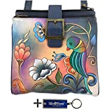 Anna By Anuschka Travel Organizer Purse - Hand Painted Design on Real Leather Crossbody Handbag - Free Key Chain … (3 Copm Portugise Parrot)