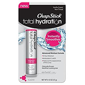 ChapStick Total Hydration (Vanilla Cream Flavor, 1 Blister Pack of 1 Stick) Lip Care with C0Q10 Lip Balm Tube, 8 Hour Moisture, 0.12 Ounce
