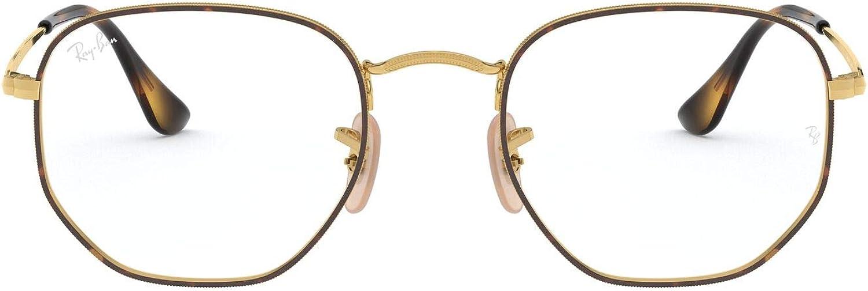 Top Havana On Gold//Demo Lens RX6448 Round Metal Eyeglass Frames 54 mm