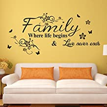 "Wawoo Removable Vinyl Art Family Letter Quote ""Family Where Life Begins Love Never Ends"" with Flowers and Butterfly Wall Sticker Decals Murals for Home Decoration"