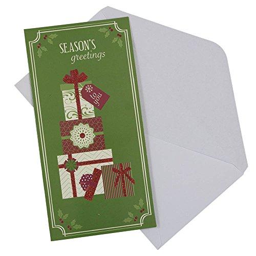 JAM PAPER Christmas Money Cards & Matching Envelopes Set - Seasons Greetings Gifts - 6/Pack