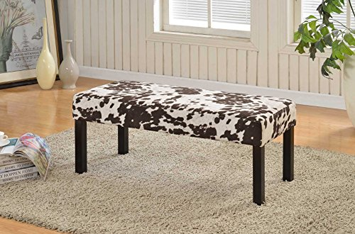 Cow Pattern (Pattern Print Fabric Upholstered Accent Entryway Bedroom Decorative Bench (BC-1010 Cow)