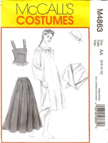 Mccall's Costumes Sewing Pattern #M4863 Misses Colonial Corset & Corset Lining, Cap/hat, Dress, Skirt, Shawl,