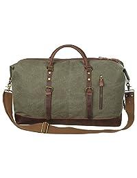 S-ZONE Oversized Canvas Leather Trim Duffel shoulder handbag Weekend Bag (Army Green)