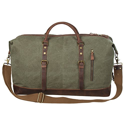 S-ZONE Oversized Canvas Genuine Leather Trim Travel Tote Duffel Shoulder Weekend Bag Weekender Overnight Carryon Hand Bag (Check Canvas Tote)