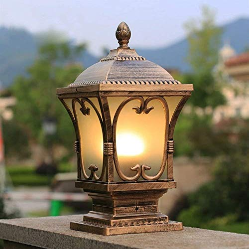((Size : Height 73cm) Outdoor Garden E27 Victorian Aluminum Lamp Post Lantern with Snow Protection Exterior Light Pillar Garden Décor Patio Lighting Antique Bronze Finish LED Home Lighting)