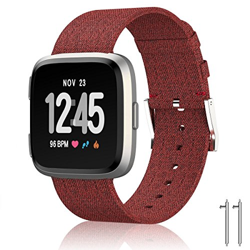 - SIX by SIX Woven Fabric Wrist Strap Quick Release Watch Band with Classic Square Stainless Steel Buckle for Fitbit Versa Fitness Smart Watch