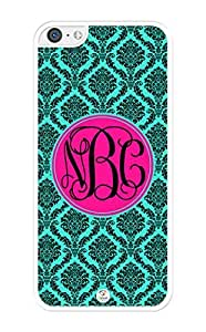 iZERCASE Monogram Personalized Turquoise Damask Pattern iPhone 5C Case - Fits iPhone 5C T-Mobile, AT&T, Sprint, Verizon and International (White)