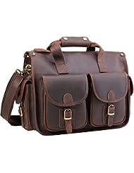 Polare Vintage Full Grain Leather Messenger Bag For Laptop Briefcase Satchel Bag