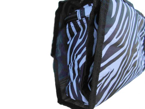 2-piece Hanging Fashionista Accessory Travel Bag Set - 1 Folding Case with Small Pouches (For Jewelry, Coupons, Makeup, Make-up) & 1 Folding Case with Larger Pouches (Bathroom Toiletories) Travel Accessory Case in Fashionable Black and White Zebra Print Pattern