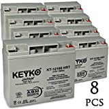 Baja BE500 12V 18Ah / Real 20.0Ah AGM - SLA Sealed Lead Acid HIGH RATE Deep Cycle Battery for UPS Wheelchair Scooter and Mobility - Nut & Bolt L1 - 8 Pack