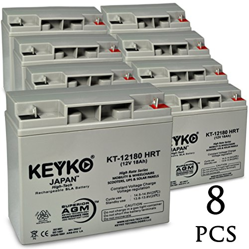 X-Treme XB-420M 12V 18Ah / Real 20.0Ah AGM - SLA Sealed Lead Acid HIGH RATE Deep Cycle Battery for UPS Wheelchair Scooter and Mobility - Nut & Bolt L1 - 8 Pack by KEYKO