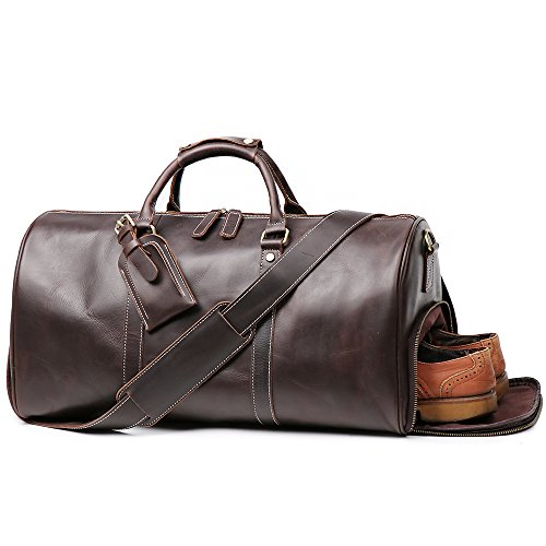 LeatherFocus Leather Travel Luggage Bag With Side Pocket, Mens Duffle Retro Carry on Handbag (Dark Brown) -