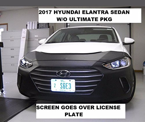 Lebra 2 piece Front End Cover Black - Car Mask Bra - Fits - 2017-2018 Hyundai Elantra sedan - without Ultimate package, EXCEPT SPORT MODEL