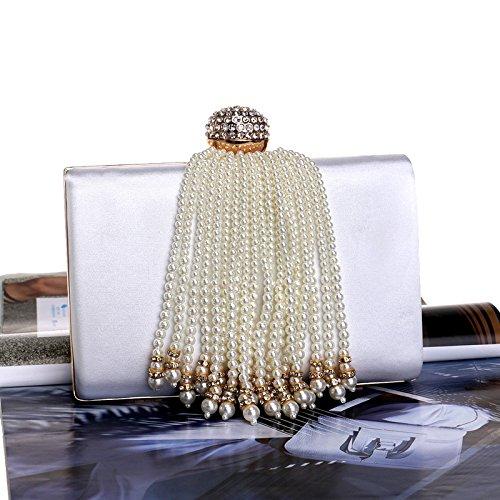 Handbag Apricot Handbag Elegant Lady American Bag and Dress Pearl Evening White Pearl Color European Banquet 7xTqz5