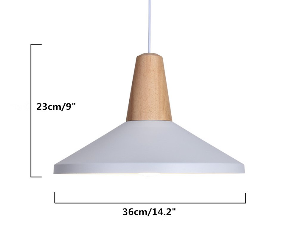 BOKT 60W Edison Lights Modern Industrial Pendant Lamp Colorful Hanging Chandelier Shade Light E26 E27 Base Painted Finish Solid Wood Series Single Head B-White