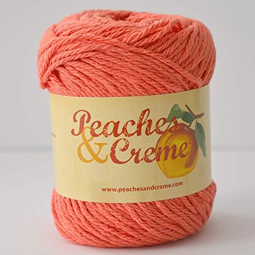 Cream Creme Cotton Yarn - Peaches & Creme (Cream) Cotton Yarn Ocean Coral 2.5 oz. (Coral Orange)
