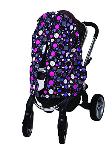 Bambella Designs Stroller Privacy Curtain - Purple Circles by BayB Brand (Image #1)