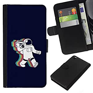 LECELL--Cuero de la tarjeta la carpeta del tirón Smartphone Slots Protección Holder For HTC DESIRE 816 -- Psychedelic Astronauta Radio Música --