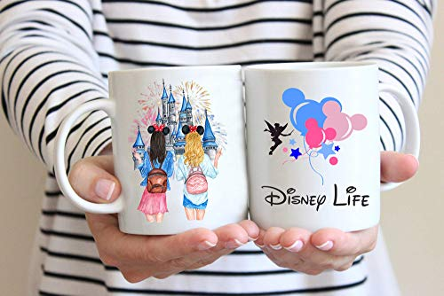 Disney Life Custom Best Friend Gift Mug, Custom Message Mug, Personalized BFF Mug, Gift for Sister, Best Friend Forever, Long Distance Friendship Mug Mickey Castle