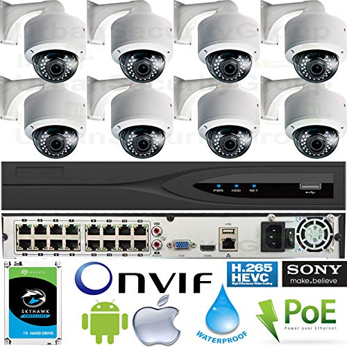 Urban Security Group 16 Channel IP Camera System : (1) Ultra 4K 16 Channel PoE NVR + (8) 5MP Vari-Focal Lens PoE Dome Outdoor Cameras + (1) 2TB HDD : Pro Grade