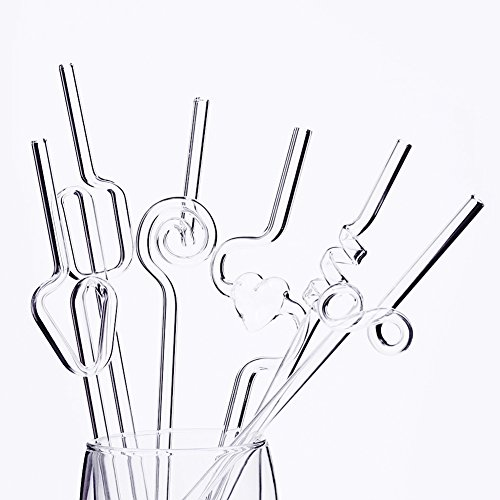 Geek-House Reusable Glass Straw Curving Unique in Form for Kids and Adults A Set of 6 Different - Cool Teenage Glasses For Girls