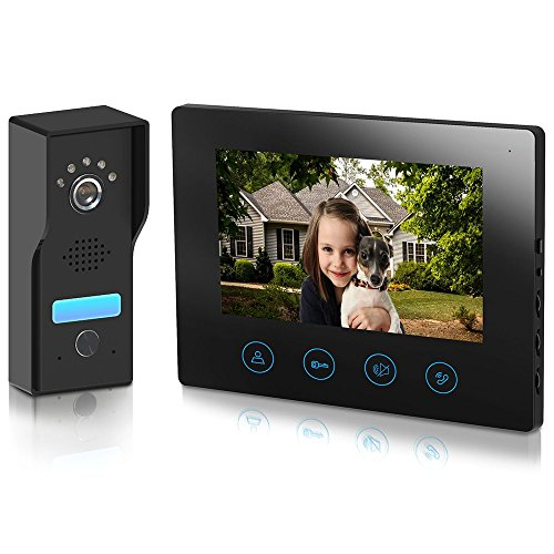 Video Doorbell Video Door Phone Intercom Kit - with 7inch Monitor unlock function Metal camera Night Vision Touch Button Screen - No Wi-Fi & No APP Metecsmart (black)