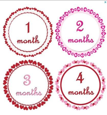 Monthly Baby Girl Stickers Girl Scalloped Hearts Fancy Pink and Reds Heart Stickers