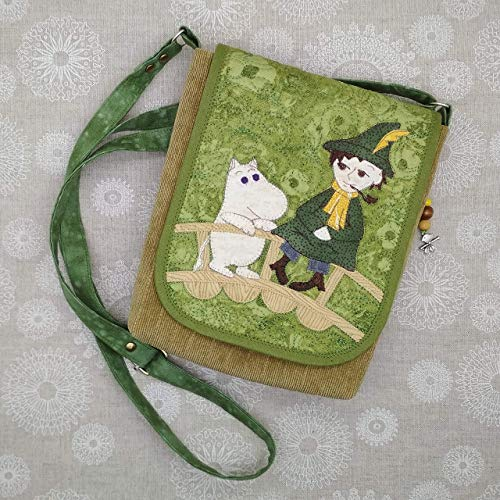 (Moomin Messenger Crossbody or Shoulder Bag - Handmade Applique Patchwork Quilted - for Women and Girls - Snufkin and Moomintroll )