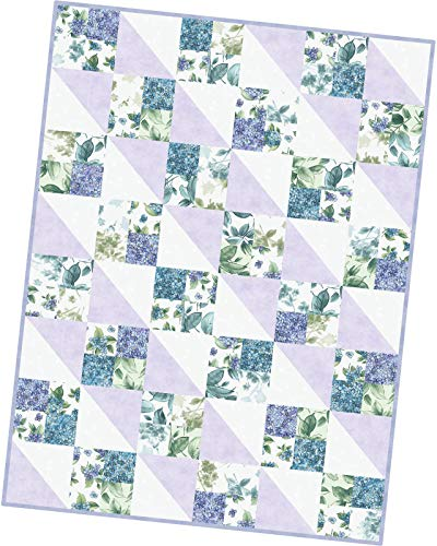 Watercolor Hydrangeas Four Square Pod Quilt Kit Maywood Studio