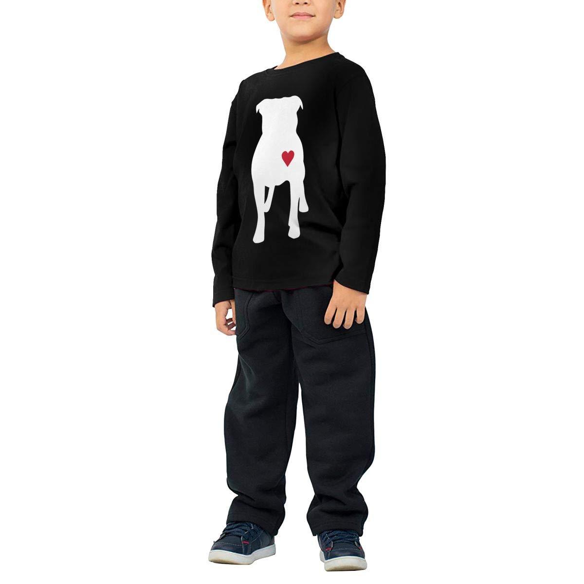 Fryhyu8 Baby Boys Childrens Pitbull Heart Printed Long Sleeve 100/% Cotton Infants Tee Shirt