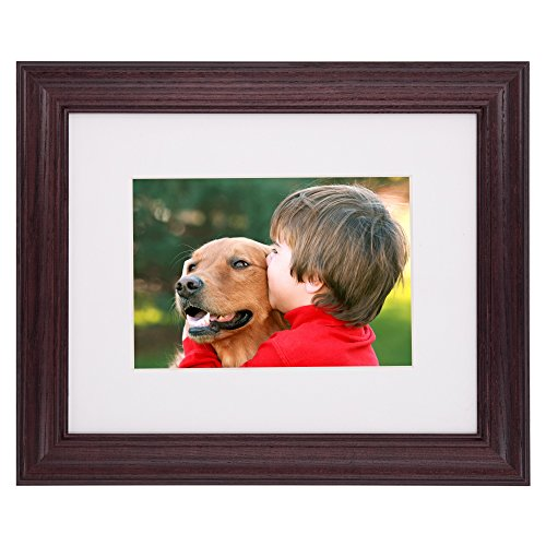 - New 8x10 Picture Frame - Dark Cherry Ash Hardwood w/Mat for Family & Friends Photos, 1-1/4 Inch Wide Molding - Hand Made in USA by Northern