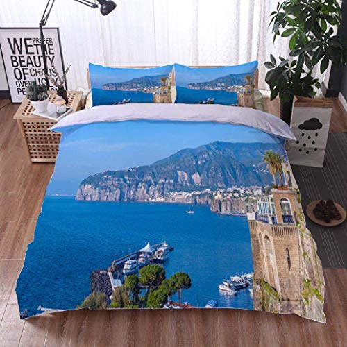 (VROSELV-HOME Bedspread Set Queen Size,Panorama of Sorrento Gulf View The Province of Campania Italy,Soft,Breathable,Hypoallergenic,Print,Decorative Quilted 3 Piece Coverlet Set with 2 Pillow Shams,)
