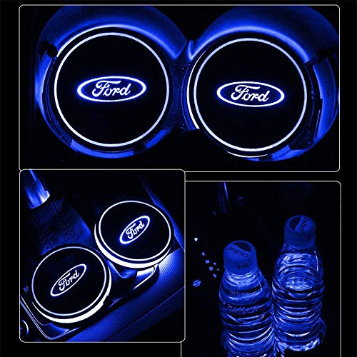 Logo Coasters - LED Cup Holder Lights for Ford,Car Logo Coaster with 7 Colors Changing USB Charging Mat, Luminescent Cup Pad Interior Atmosphere Lamp Decoration Light(2 PCS)