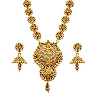 JFL – Jewellery for Less Golden One Gram Gold Plated Necklace Set For Women