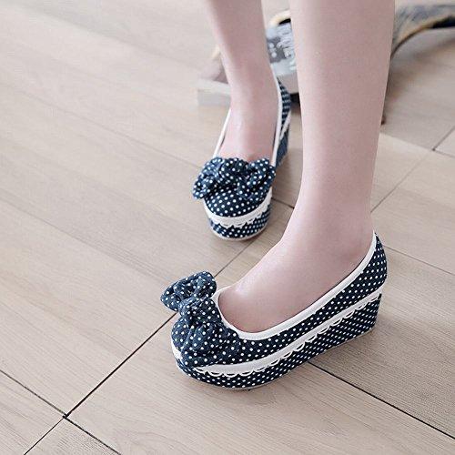 Latasa Dames Leuke Chique Stippen Platform Schoenen, Wig Pumps Schoenen, Espadrille Schoenen Donkerblauw
