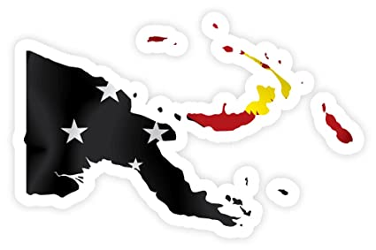 Amazon.com : Papua New Guinea PNG map flag sticker decal 5 ...