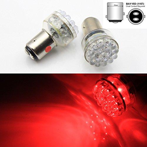 FidgetGear 2 x 24 LED 6V RED Car Bulb 1157 bay15d 1154 Light Stop/Tail/Stop/Reverse Lamp AC