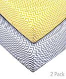 Crib Sheet Set Toddler Sheet 2 Pack 100% Cotton chevron stripes for Baby Yellow and Gray Chevron by UOMNY