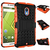 MOONCASE Moto X Play Case Detachable 2 in 1 Hybrid Armor Design Shockproof Tough Rugged Dual-Layer Case Cover with Built-in Kickstand for Motorola Moto X Play Orange