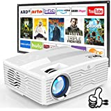 """[Native 1080P Projector] DR. J Professional 6800Lumens LCD Projector Full HD Projector Max 300"""" Display, Compatible with TV Stick, HDMI, AV, VGA, PS4, Smartphone for Home Theater, Presentations"""
