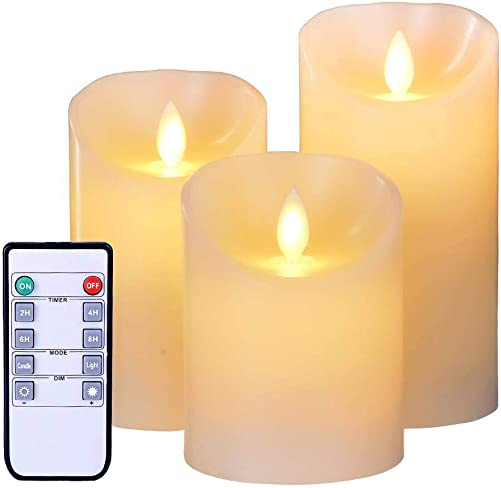 Flameless LED Candles Flickering Light Pillar Real Smooth Wax Electric Candles with Timer Function 10-Key Remote for Wedding Decoration, Idea Set of 3